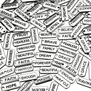 Word Charms Pendants Engraved Motivational Charms Pendants for DIY Necklaces, Jewelry Making, Fashion Accessories, Bracelets, Bangles, Silver (80 Pieces)