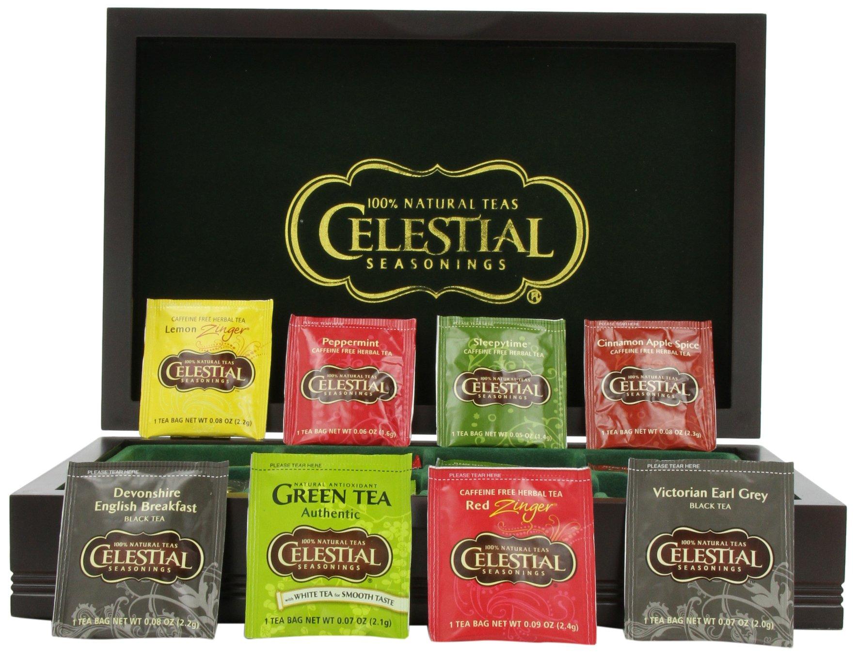 Celestial Seasonings Wooden Chest with Tea, 64 Count by Celestial Seasonings