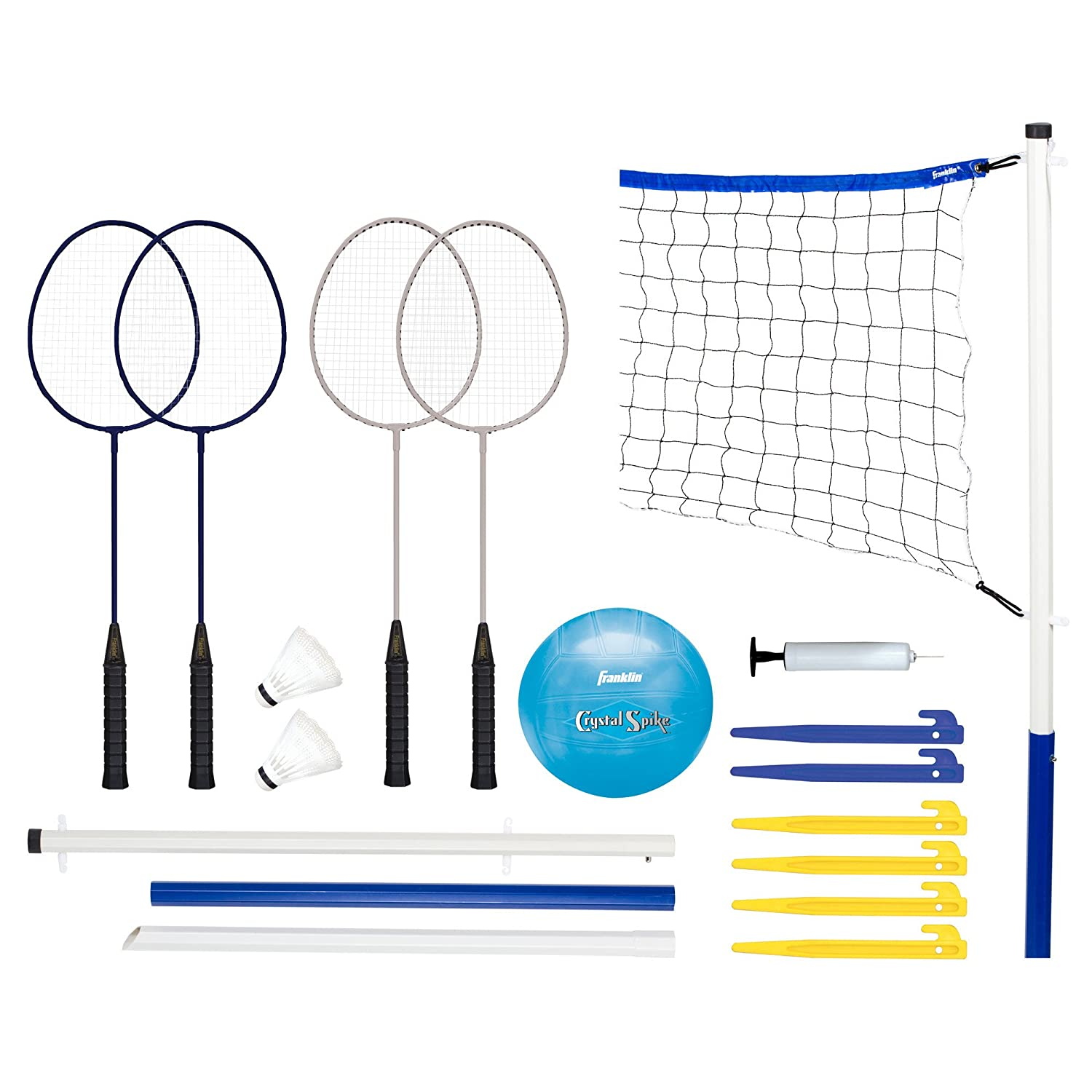 Franklin Sports Recreational Badminton and Volleyball Combo Set 50600X