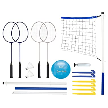 Franklin Sports Volleyball and Badminton Set - Volleyball, Pump, Badminton Rackets, Birdies, Net, and Adjustable Polls - Beach or Backyard Combo Set Games