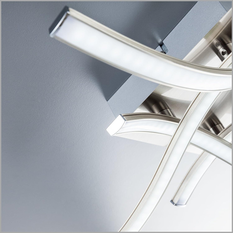 IP20 Color n/íquel mate Lampara de sal/ón moderna en metal y pl/ástico 230 V L/ámpara de techo LED 4 x 3,4 W 4 placas de luz 3000K