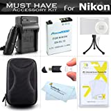 Must Have Accessories Kit For Nikon Coolpix S9900, A900, S9500, S800c, S6300 S6200 S8200 S9100 S9300 P340 S9200, AW120, AW130, S9700 Camera Includes Replacement EN-EL12 Battery + Charger + Case + More