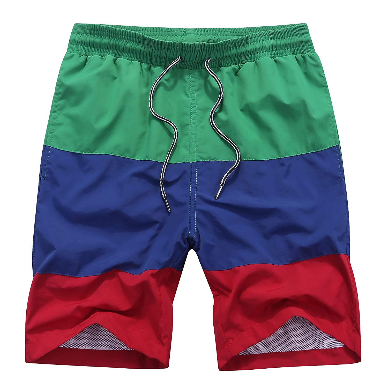 SILKWORLD Men's Swim Trunks Mesh Lining Beach Shorts with Pockets CJ0714