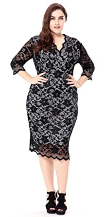 La Vogue Women Full Lace Bodycon V-Neck 3 4 Sleeve Plus Size Midi ... 7937e3b44