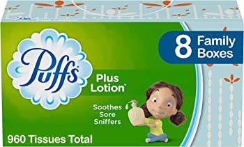 8-Count Puffs Plus Lotion Facial Tissues Family Boxes