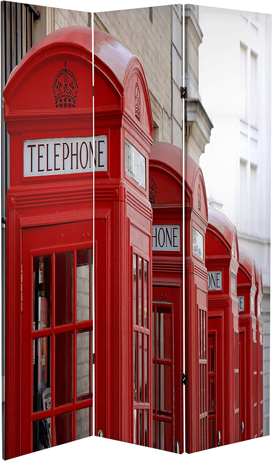 Oriental Furniture Large England Britain UK Photo Photographic Print Big Ben//Phone Booths 6 Double Printed London Icon Room Divider Screen