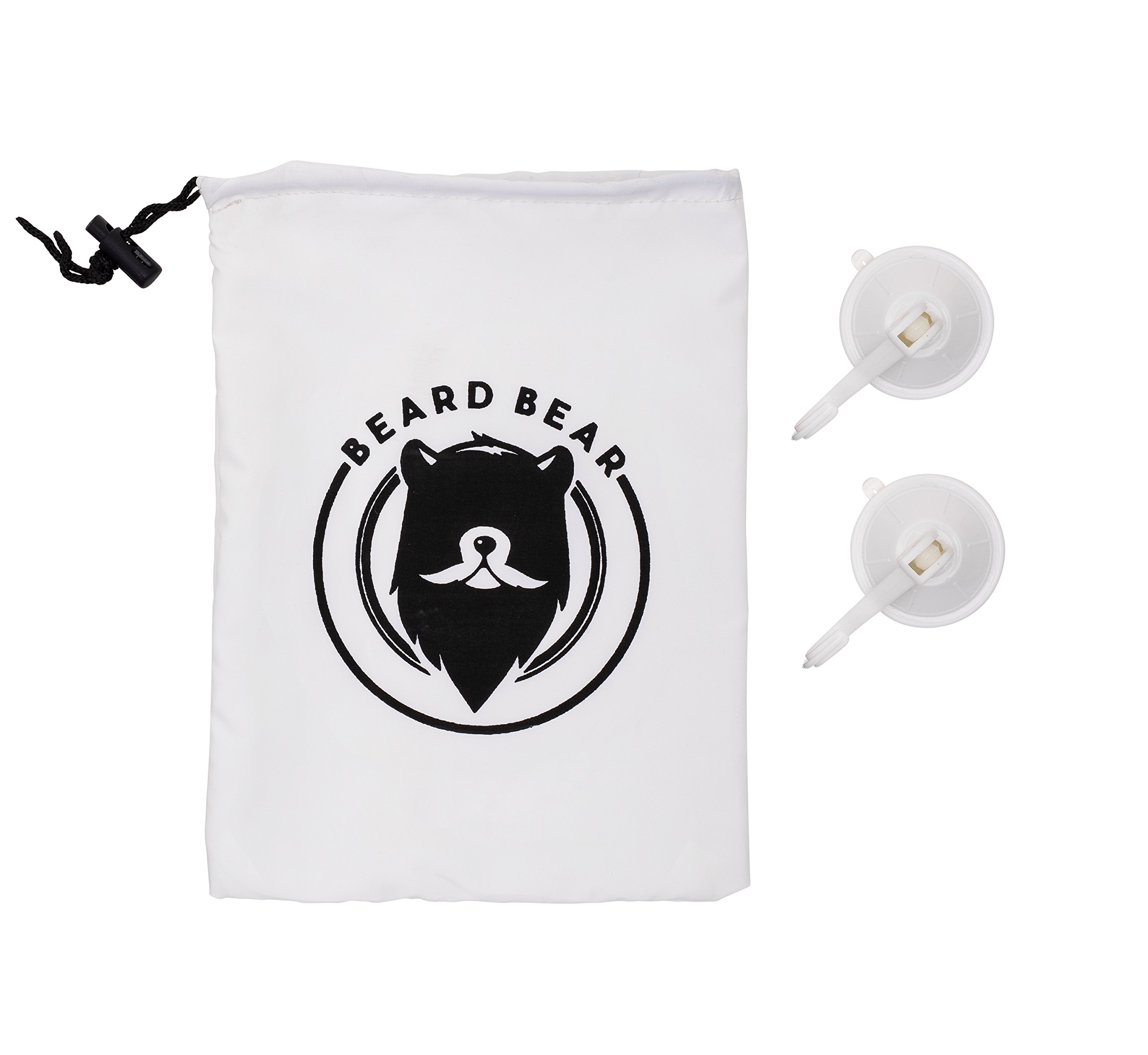 BEARD BEAR Beard Bib Apron - Premium Apron for Trimming & Cutting Your Beard Without Mess - Men's Shaving Grooming Catcher Cape - Great Gift Idea for Men, White by Beard Bear (Image #2)