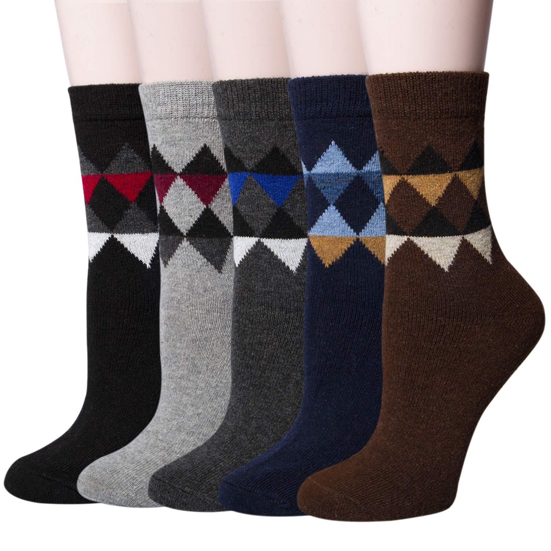 5 Pairs Womens Winter Warm Knit Wool Casual Crew Socks YSense