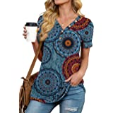 ANIXAY Womens Waffle Knit Tunic Tops Long/Short Sleeve Loose Fitting Daily Casual Button Up Basic Henley Tops