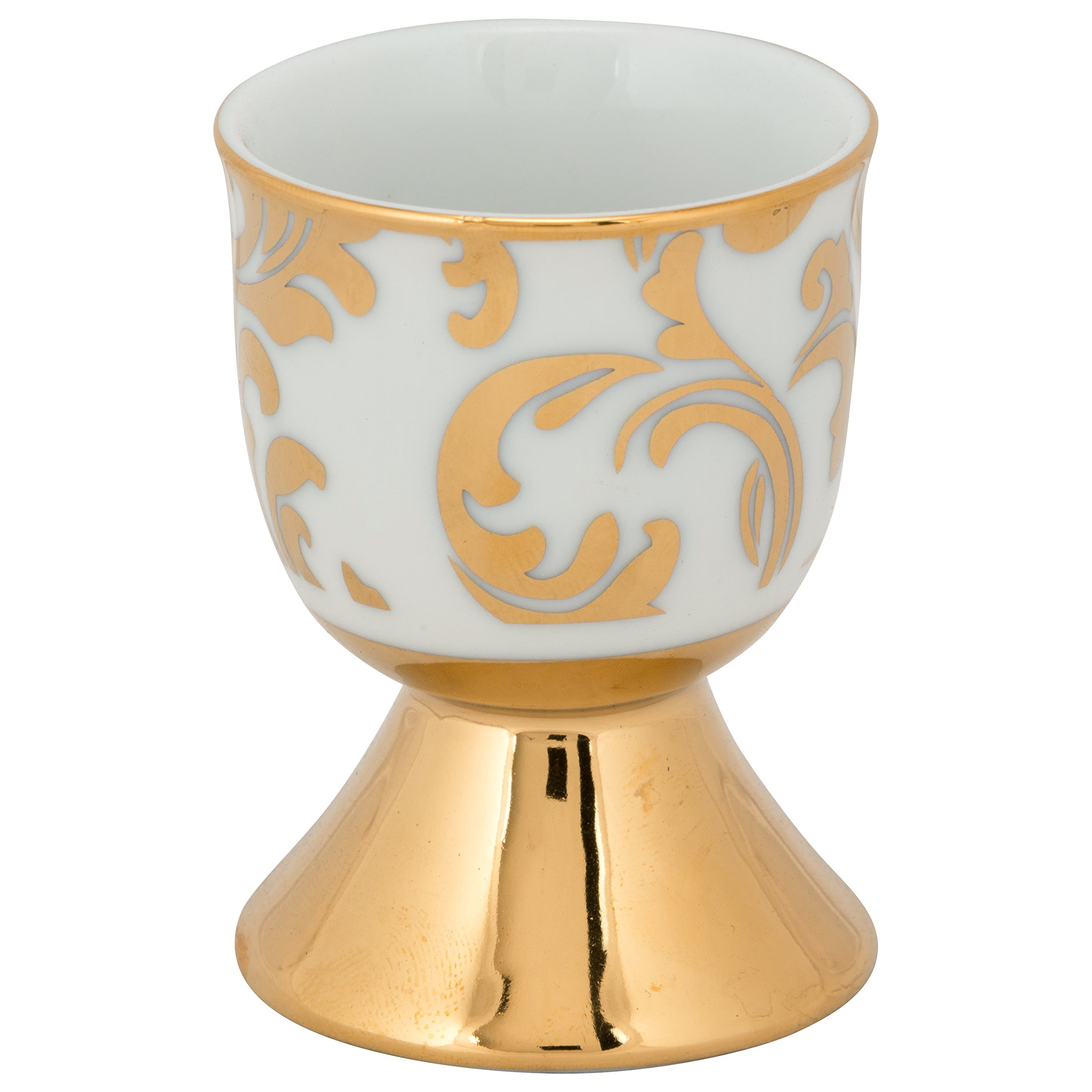10 Strawberry Street S4EGGC-DAMSK Damask Egg Cup (Set of 4), Gold