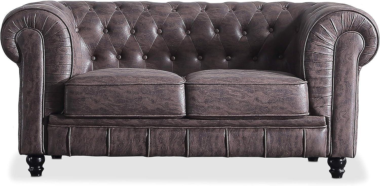Adec - Chesterfield, Sofa de Dos plazas, Sillon Descanso 2 Personas Acabado en capitone Color Chocolate Vintage, Medidas: 166 cm (Largo) x 84 cm (Fondo) x 75 cm (Alto)