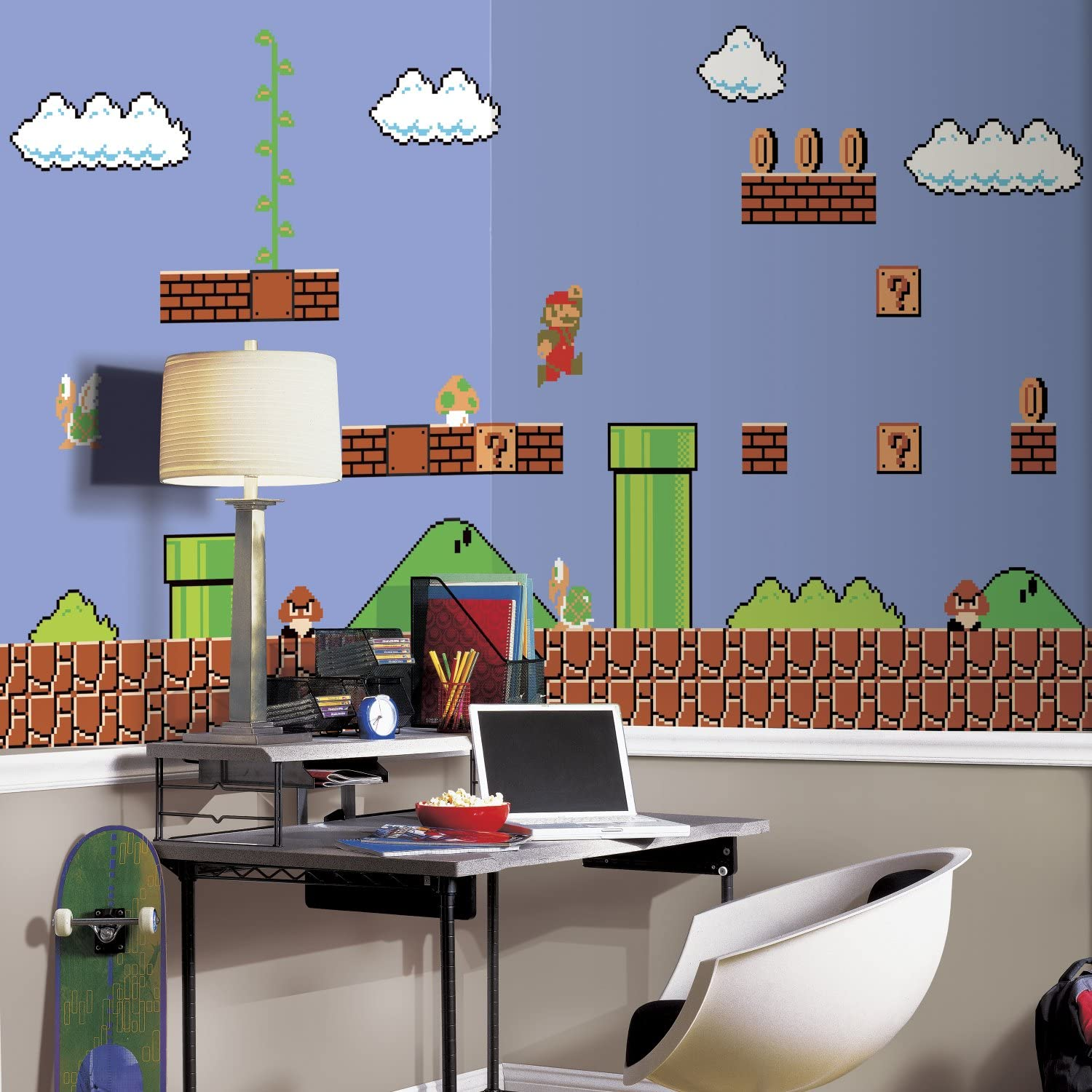 Roommates Super Mario Retro Removable Wall Mural Black 10 5 Feet