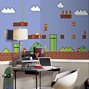 RoomMates Super Mario Retro Removable Wall Mural , black, 10.5 feet X 6 feet, - JL1331M