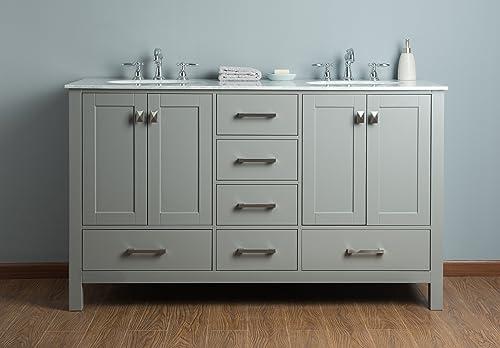 Stufurhome GM-6412-60GY-CR 60 Malibu Grey Double Sink Bathroom Vanity, Gray
