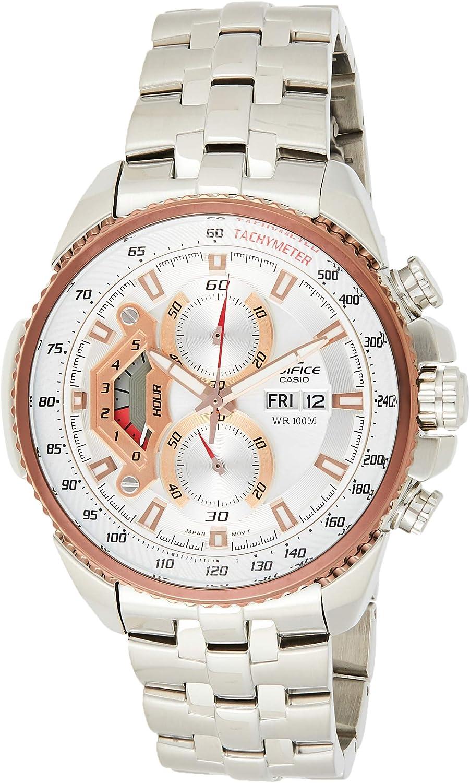 Casio Ef-558d-7a Reloj Analógico para Hombre Colección Edifice Caja De Acero Inoxidable Esfera Color Plateado