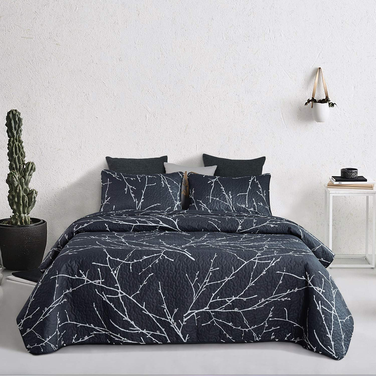 Wake In Cloud - Branches Quilt Set, Dark Gray Grey Charcoal with Tree Pattern Printed, Soft Microfiber Bedspread Coverlet Bedding
