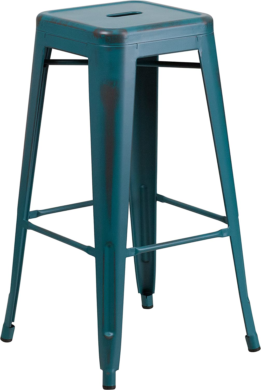 Flash Furniture 30'' High Backless Distressed Kelly Blue-Teal Metal Indoor-Outdoor Barstool