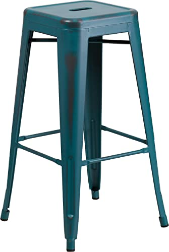 Flash Furniture Commercial Grade 30″ High Backless Distressed Kelly Blue-Teal Metal Indoor-Outdoor Barstool