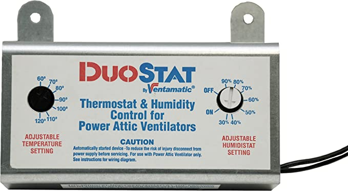 Ventamatic XXDUOSTAT Adjustable Dual Thermostat/Humidistat Control for  Power Attic Ventilators - Thermostat Humidistat Control Attic Fan -  Amazon.comAmazon.com