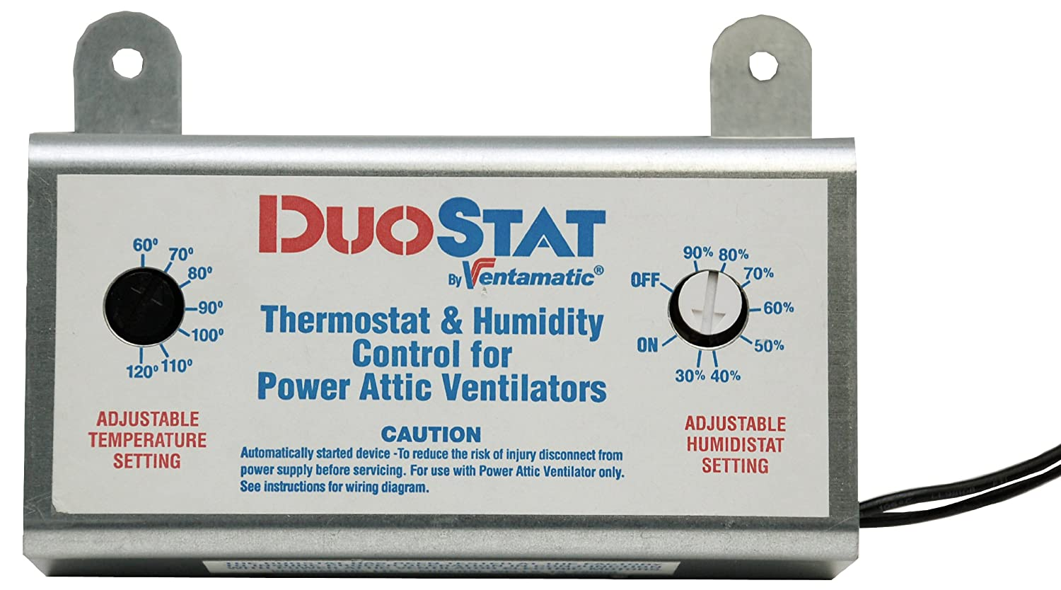 Ventamatic XXDUOSTAT Adjustable Dual Thermostat/Humidistat Control for  Power Attic Ventilators - Thermostat Humidistat Control Attic Fan -  Amazon.com