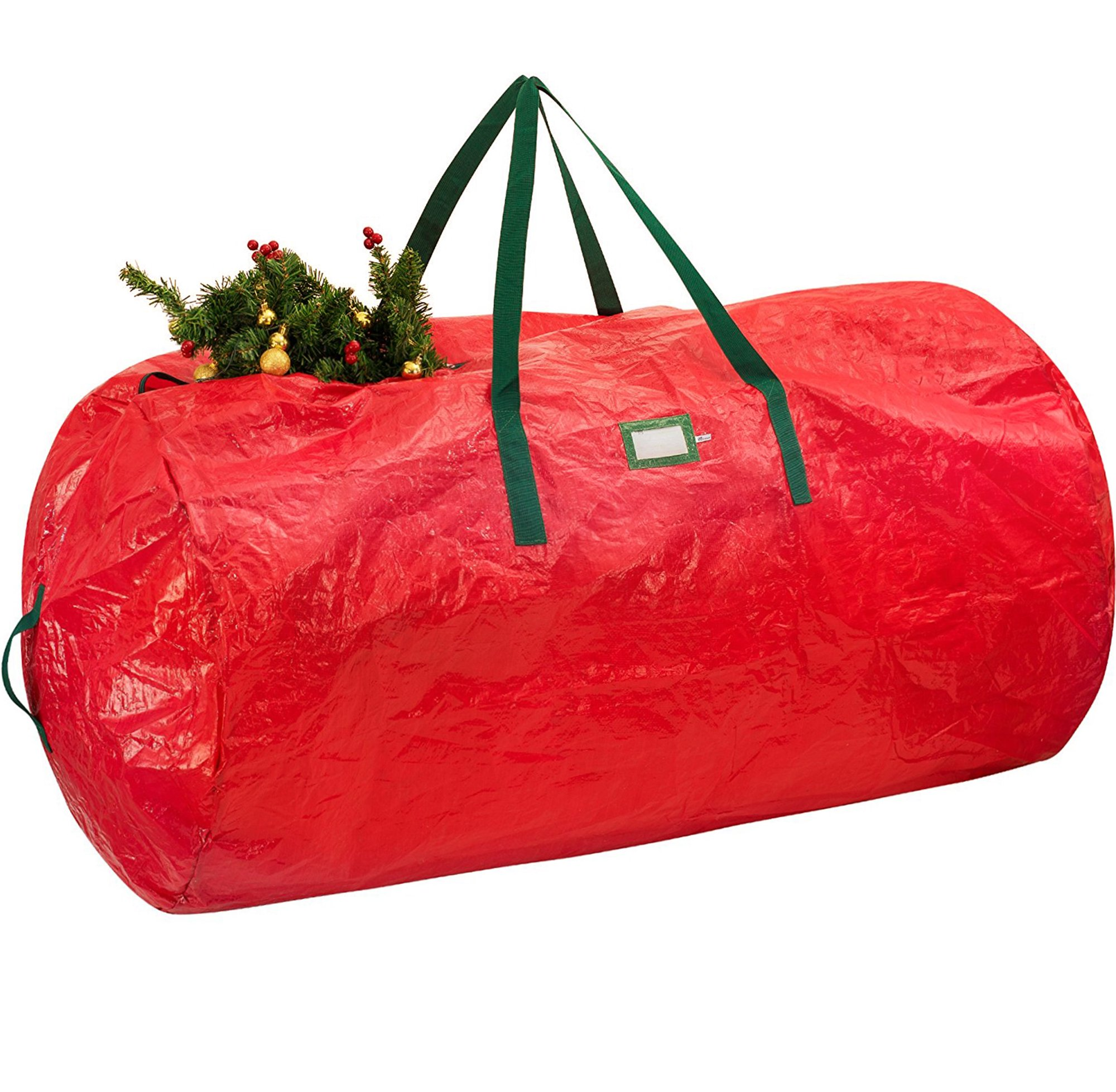 "ZOBER Christmas Tree Bag - Non-Woven Polyester Artificial Christmas Tree Storage Bag for Christmas Tree up to 9 ft Tall with High Performance Zipper 60"" x 30"" x 30"" Red"