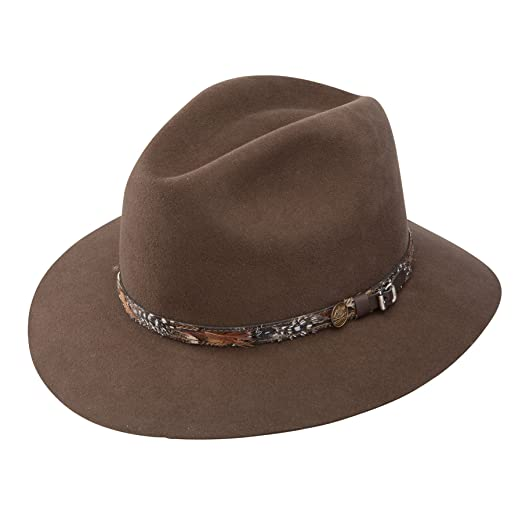 214a1c03775 Stetson Men s Jackson Fur Wool Blend Feather Band Dress Fedora Hat ...