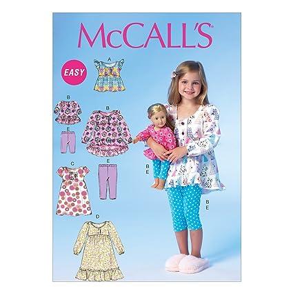McCalls Patrones de Costura para MC7043CDD para Ropa de niños/muñeca Tops para Vestidos y