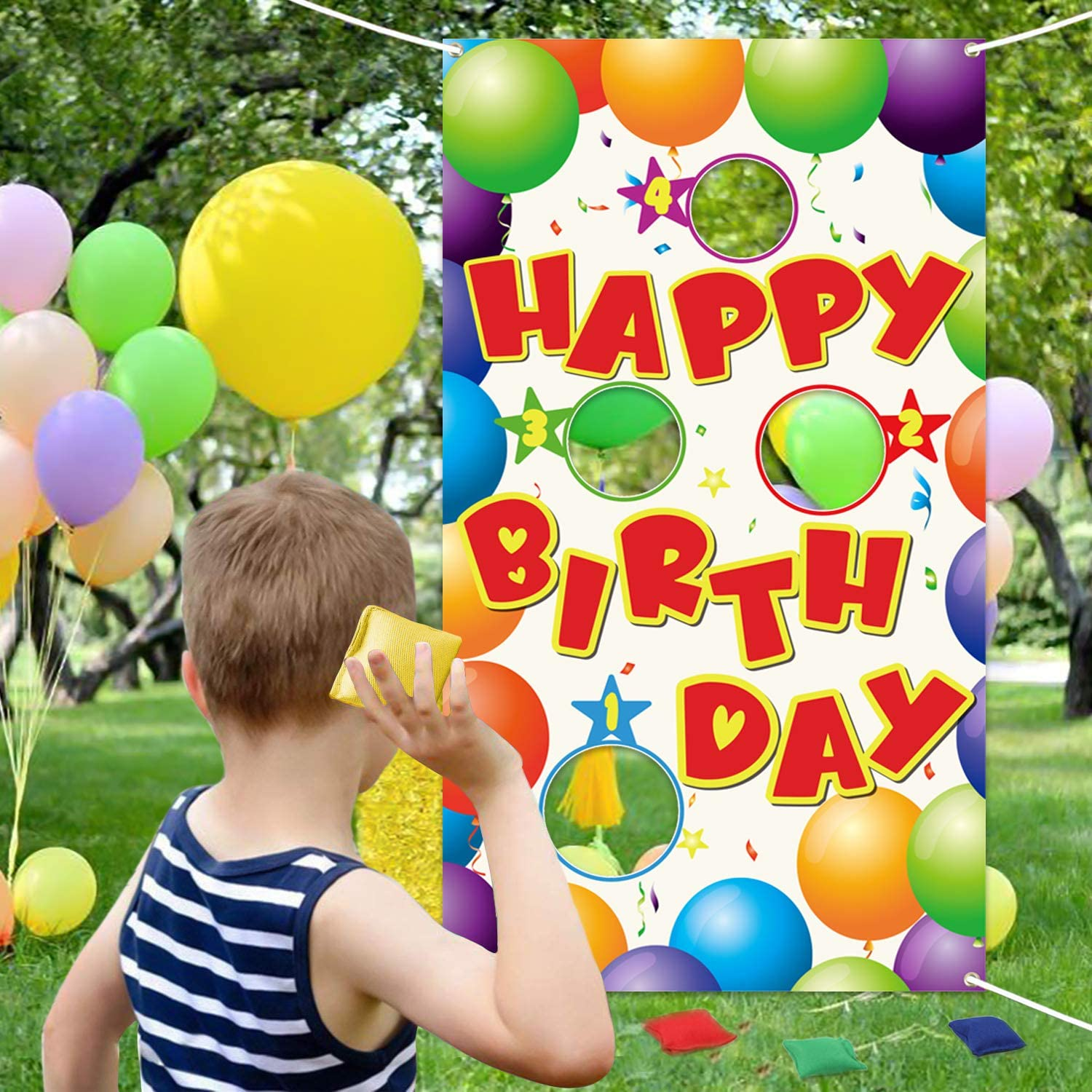 WATINC Happy Birthday Toss Game with 4 Bean Bags, Fun Carnival Birthday Party Game for Kids and Adults, Colorful Balloons Banner for Birthday Party Decorations Supplies, Indoor Outdoor Yard Activity