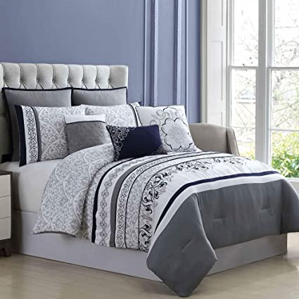 944c49e248 Amazon.com: Amrapur Overseas 8-Piece Embroidered Wakefield Comforter Set  King/California King White/Charcoal: Home & Kitchen