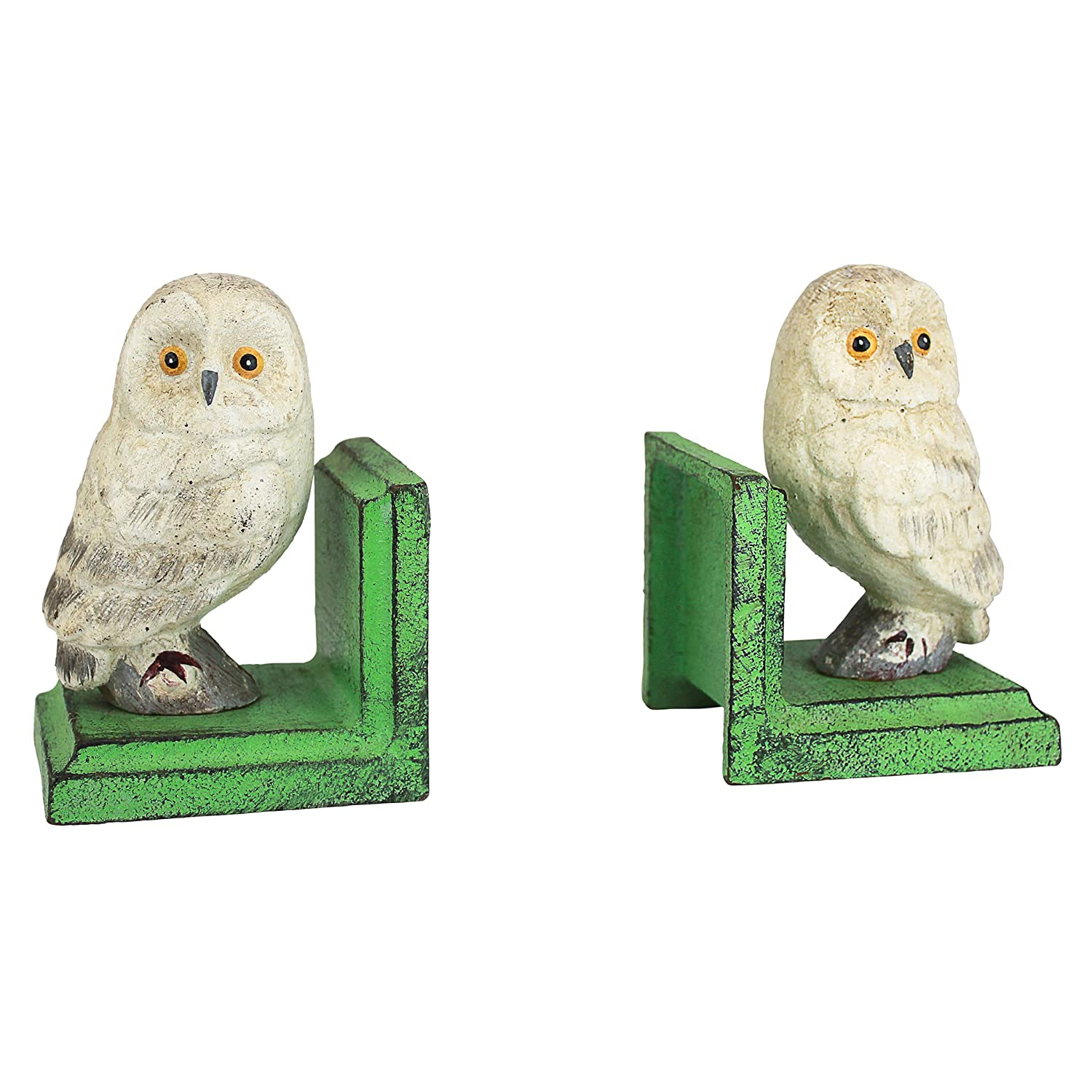 Design Toscano Wise Snowy Owl Cast Iron Sculptural Bookend Pair SP2819