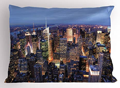 Ambesonne New York Pillow Sham Aerial View Of Nyc Full Of Skyscrapers Manhattan Times Square Famous Cityscape Panorama Decorative Standard Queen Size Printed Pillowcase 30 X 20 Blue Home Kitchen