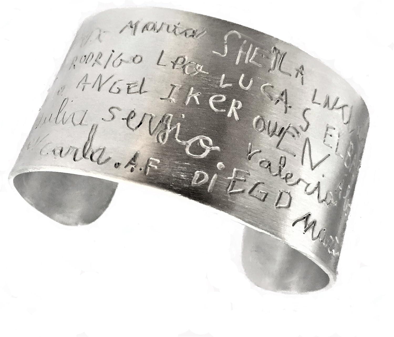 MUNOTA- Pulsera de Plata- Brazalete Personalizado con TU Dibujo o Nombres, Escritos día de la Madre, Regalos para profesoras, Abuelas, Amigas. Garantía de Calidad