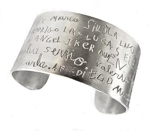 f1b9dda0d MUNOTA- Pulsera de plata- Brazalete personalizado con TU DIBUJO o NOMBRES,  escritos por