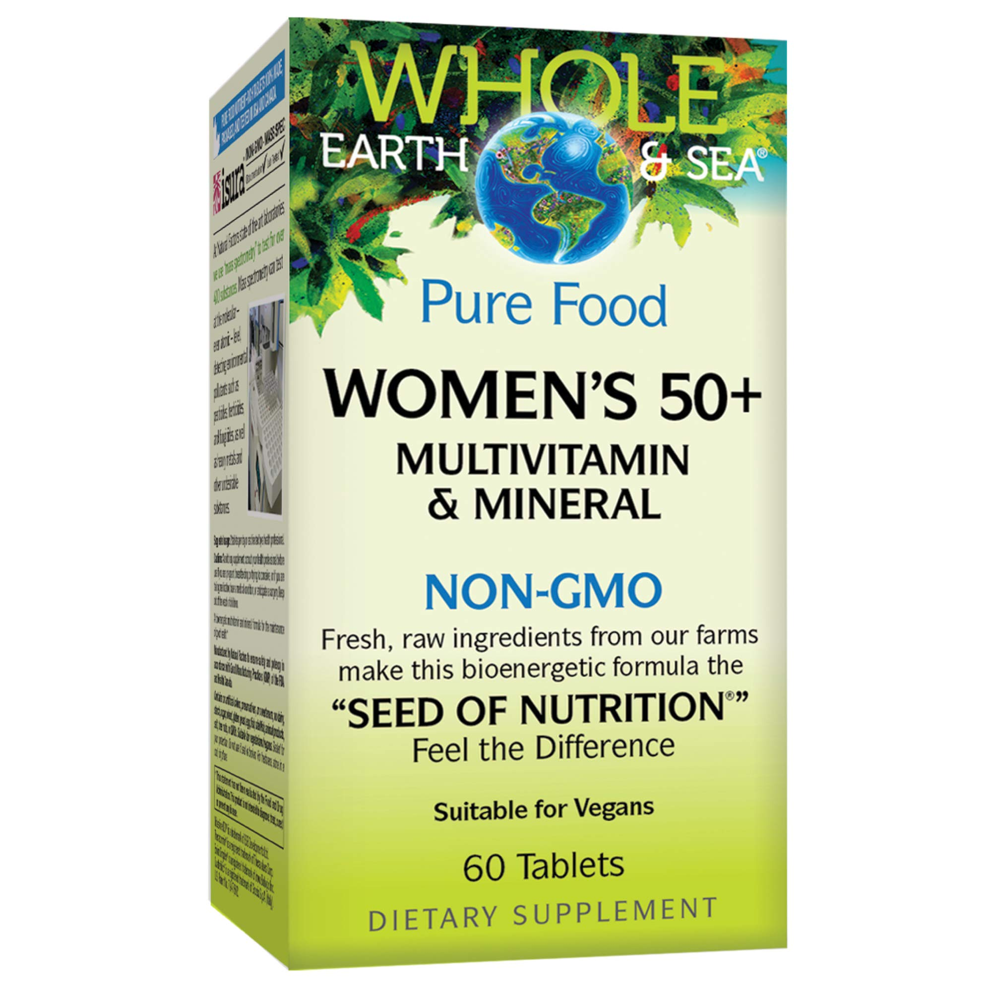 Whole Earth & Sea from Natural Factors, Women's 50+ Multivitamin & Mineral, Whole Food Supplement, Vegan and Gluten Free, 60 Tablets (30 Servings) by Natural Factors