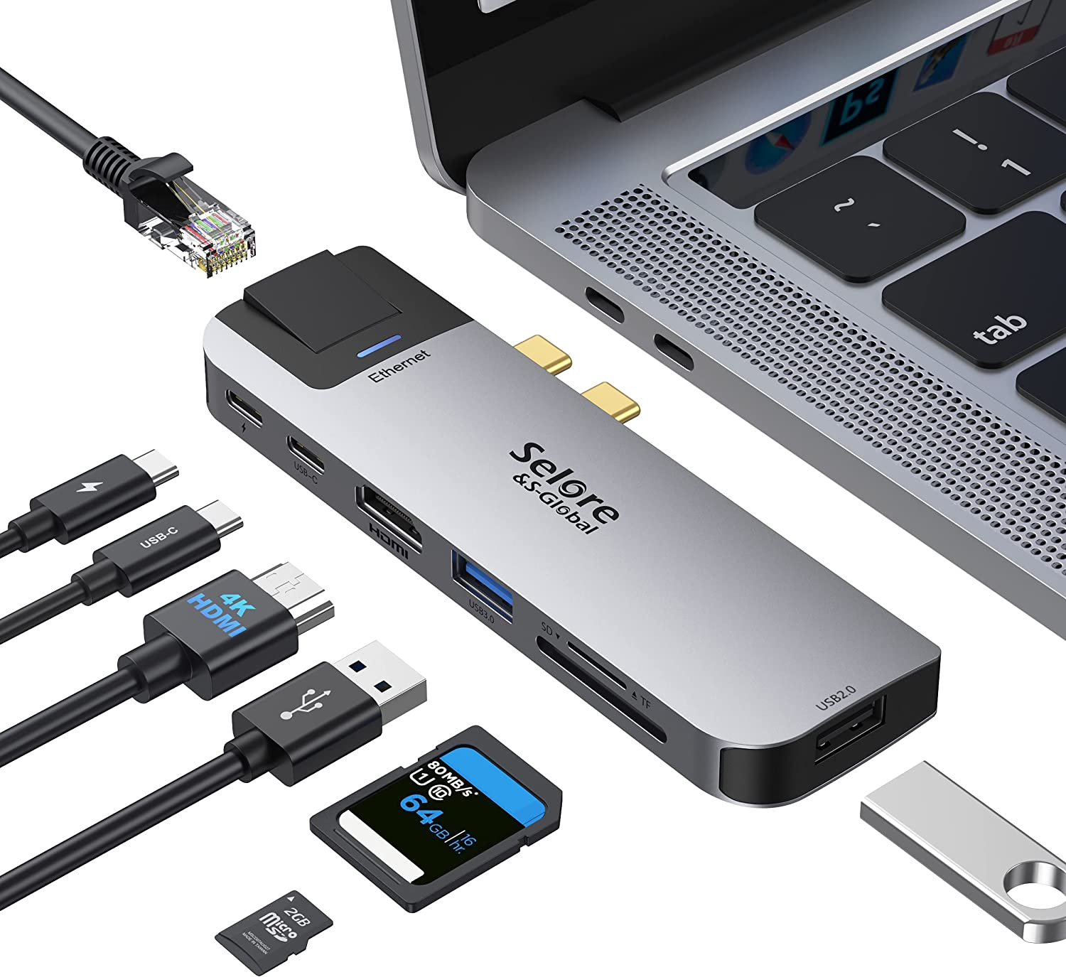MacBook Pro USB C Adapter, USB C to HDMI Adapter for MacBook Pro/Air with 4K HDMI Port, Gigabit ethernet, 2 USB 3.0, TF/SD Card Reader, USB-C 100W PD and Thunderbolt 3 8-in-1 MacBook Docking Station