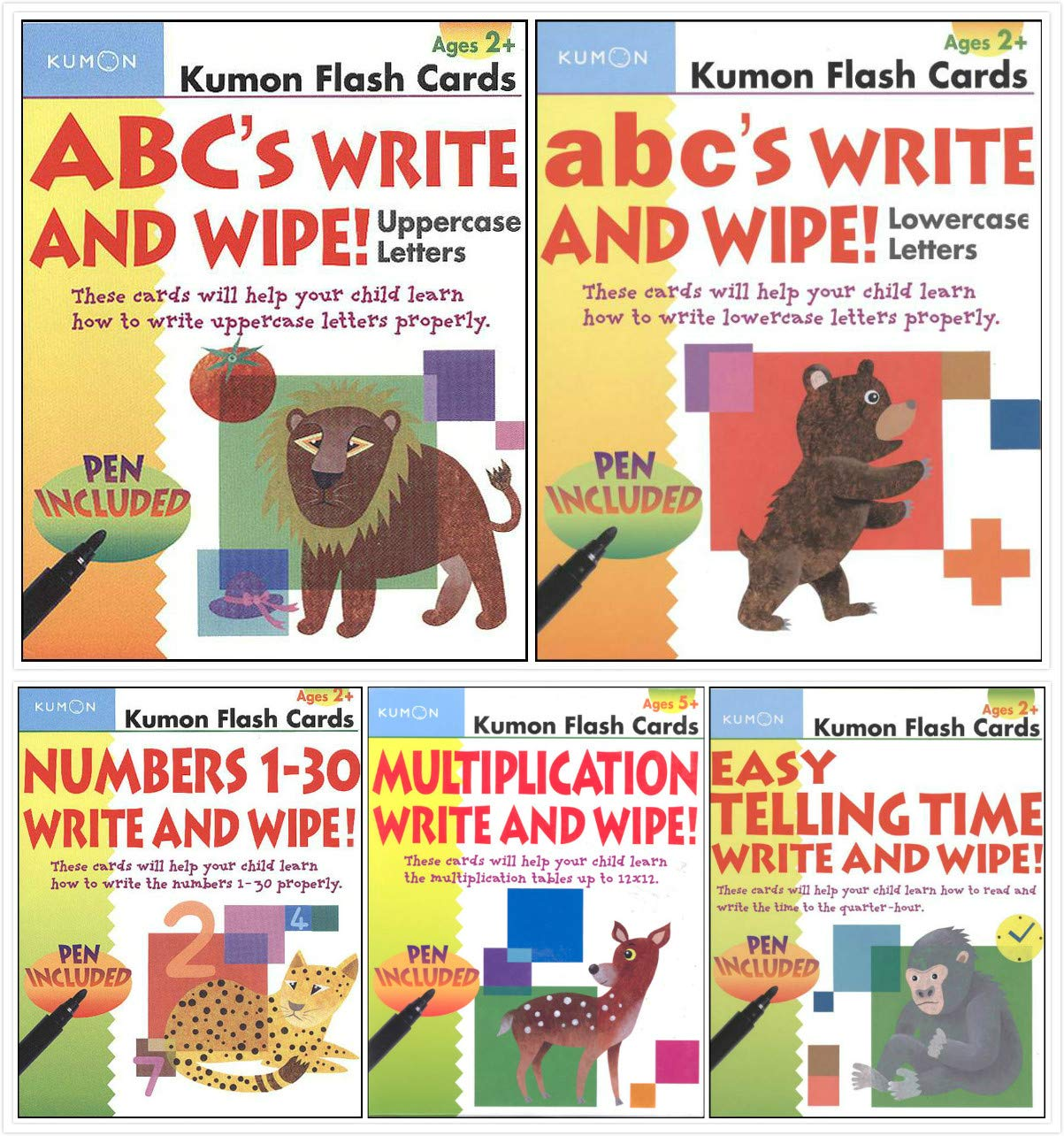 kumon flash cards abc write and wipe number