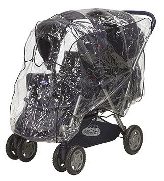 Zwillingskinderwagen Regenhaube Playshoes Universal Regenverdeck f/ür Geschwister-Buggy mit Klettverschluss und Gummizug one size transparent