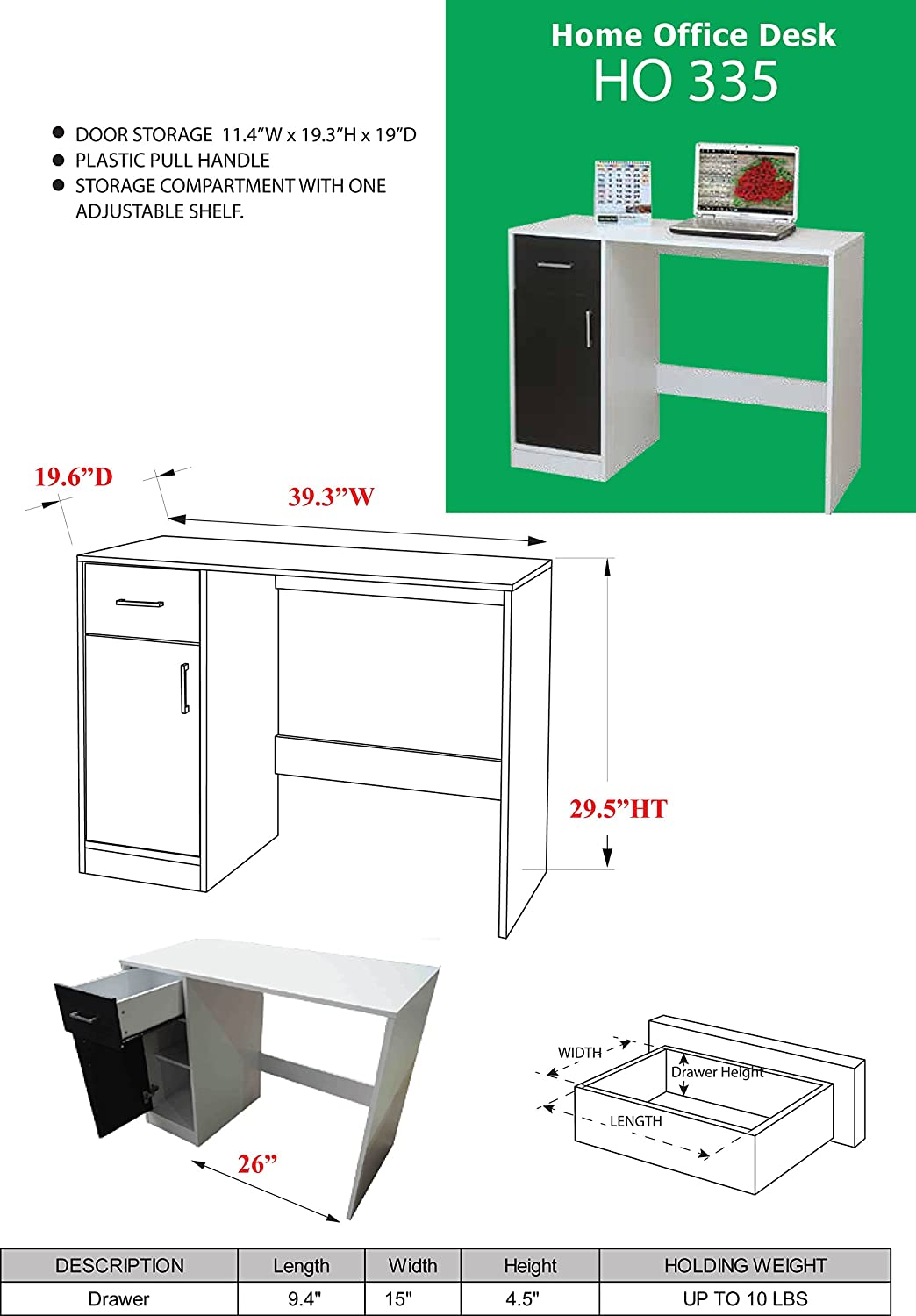 Kings Brand Furniture White Wood Laptop Computer Writing Desk with Storage HO335