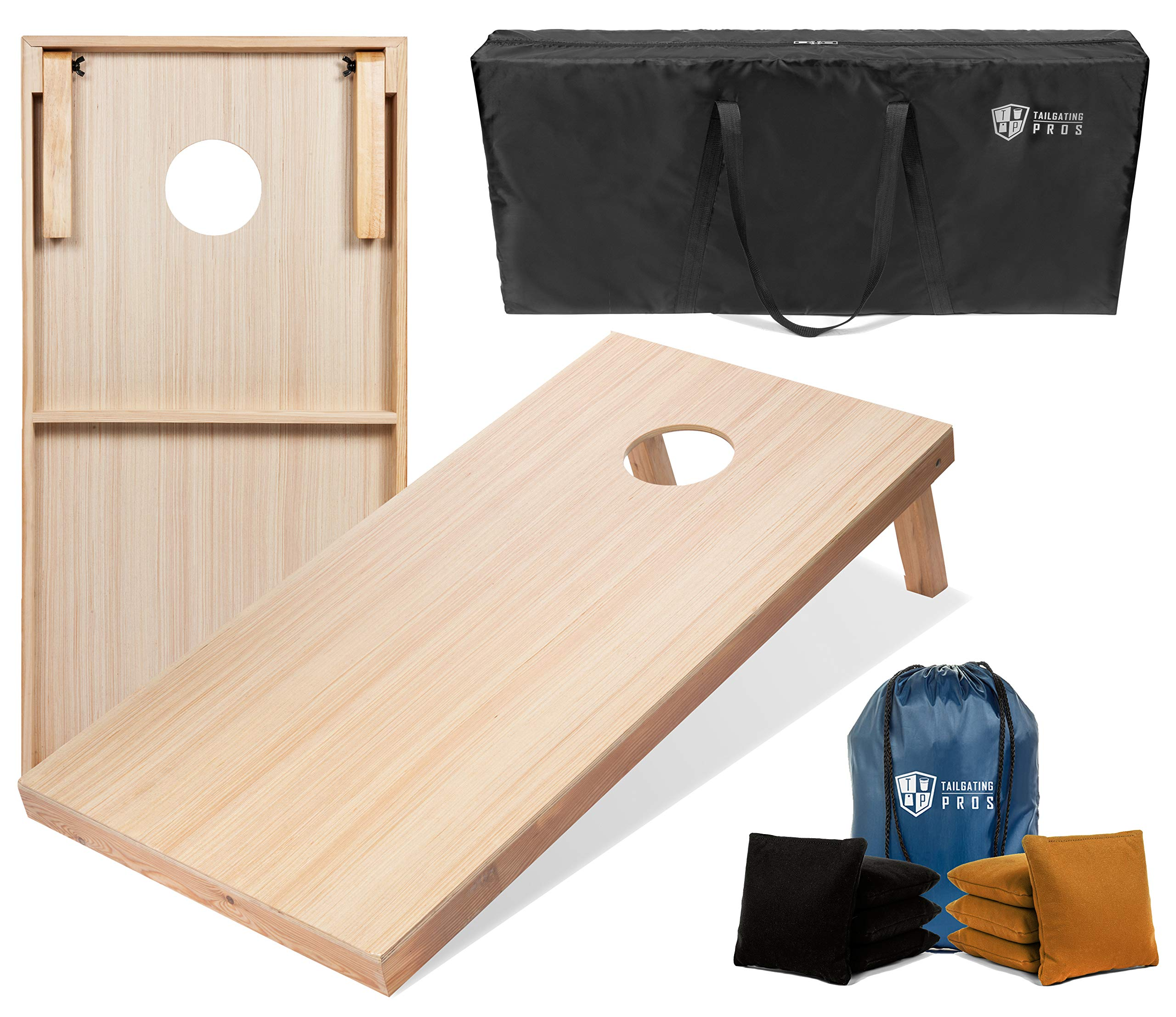 Tailgating Pros 4'x2' & 3'x2' Premium Woodgrain Cornhole Game w/Carrying Case & Set of 8 Corn Hole Bags - 150+ Color Combos! Optional LED Lights by Tailgating Pros