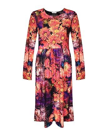 Flute Sleeve Dress Source · Comfiestyle New Women s Ladies Franki Printed Long  Sleeves Swing 0afdbf7a5