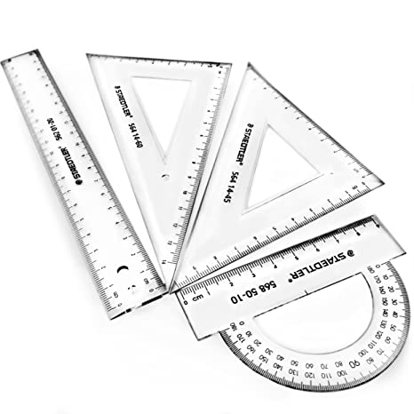 amazon staedtler mars transparent 4 piece geometry set 4 X 4 Envelope staedtler mars transparent 4 piece geometry set includes square set ruler and protractor