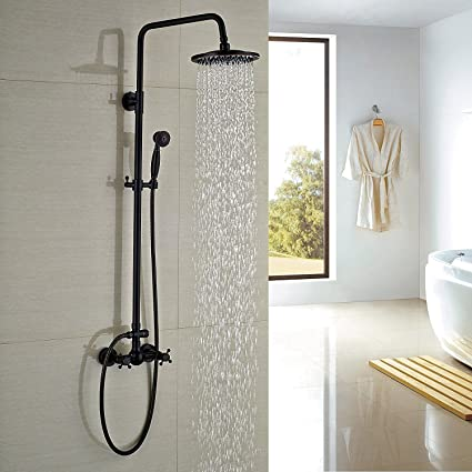 Rozin Bathroom Shower Faucet Set 8u0026quot; Rain Shower Head + Hand Spray Oil  Rubbed Bronze