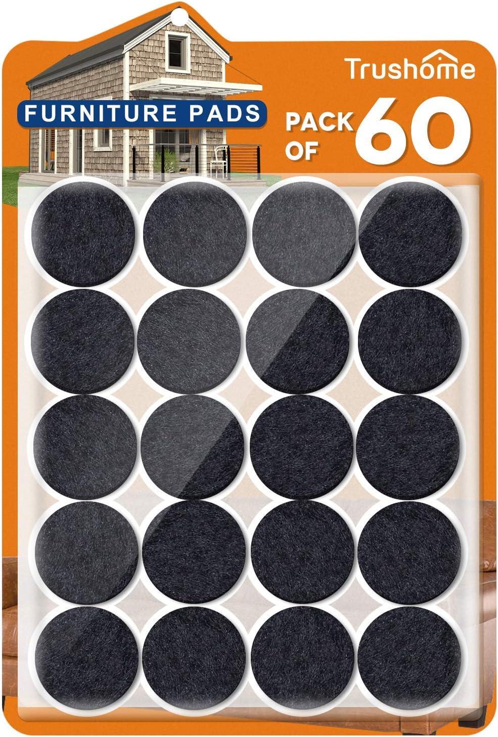 Furniture Felt Pads 60 Pack Premium Furniture Pads Black, 1 inch Self Adhesive Chair Felt Pads for Furniture Feet, Anti Scratch Felt Pads Floor Protector for Furniture Legs Hardwood Floors