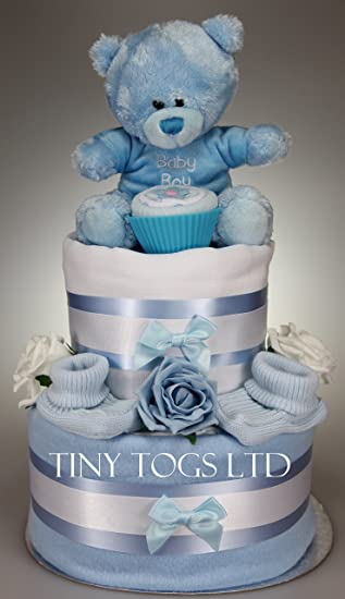 Baby boy two tier nappy cake new born baby shower gift with sock baby boy two tier nappy cake new born baby shower gift with sock cupcake and blue negle Images
