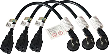 3-Pack of the 1 ft. Firmerst 1875W Low Profile Flat Plug Extension Cord