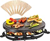 Andrew James Traditional Raclette Grill for up to 8 People with 8 Pans and Spatulas - Adjustable 1200W Thermostatic Heat Control with Non-Stick Surfaces for Easy Cleaning