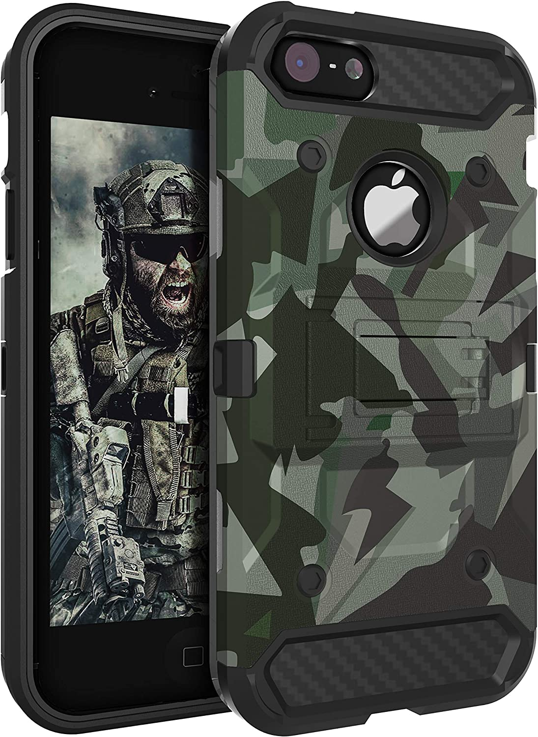 HUATRK iPhone 5 Case iPhone 5S Case iPhone SE 2016 Case Kickstand Three Layer Heavy Duty Shockproof Protective Camo Cover,Camouflage Green