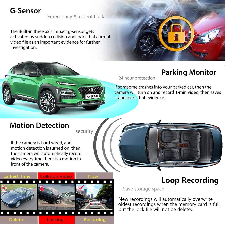 4K WiFi Dashcam Auto Vorne Hinten Dual 340/° Wide Angle Kamera mit Sony WDR Infrarot Nachtsicht Bewegungsmelder Akku Park/überwachung Loop-Aufnahme G-Sensor Autokamera Camcorder Tiberwachung Dash Cam