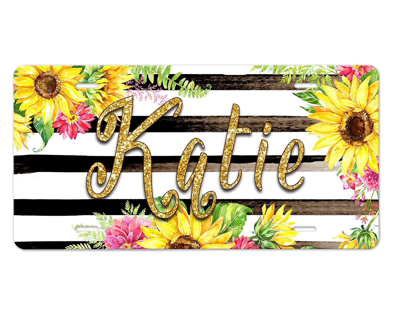 Made-to-Order Custom Front Car Tag Floral Black and White Striped Design