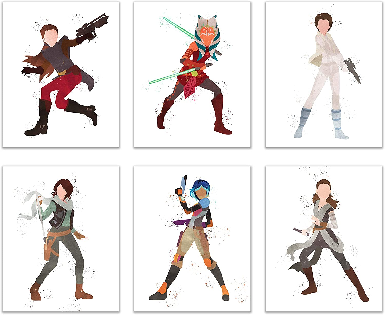 Watercolor Star Wars: Forces of Destiny Poster Prints - Set of 6 (8x10) Animated Wall Art Decor - Ahsoka Tano - Jyn Erso - Rey - Princess Leia Organa - Padme Amidala - Sabine Wren
